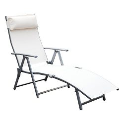 Outsunny Sling Fabric Folding Patio Reclining Outdoor Deck Chaise Lounge Chair with Cushion &#82 ...