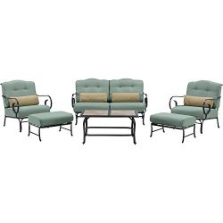 Oceana 6-Piece Patio Set in Ocean Blue with a Tile-top Coffee Table