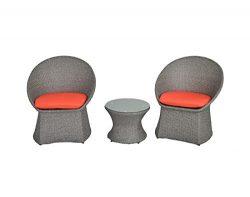 Outdoor Rattan Wicker Bistro Set Garden Patio Furniture Conversation Chair & Table Cushioned ...