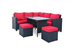 Modern 5-Piece Outdoor Furniture Dining Set, Patio Rattan Table and Chairs (Black/Red)