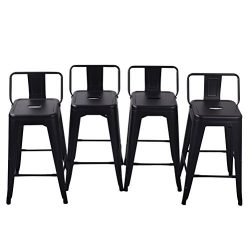 Tongli Metal Barstools Set Industrial Counter Stool (Pack of 4) Patio Dining Chair Matte Black L ...