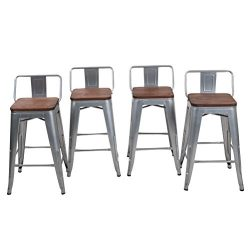 HAOBO Home 26″ Low Back Metal Counter Stool Height Bar Stools With Wooden Seat [Set Of 4]  ...