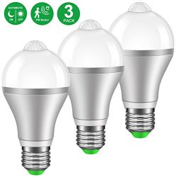 MINGER Motion Sensor Light Bulb 9W Smart PIR LED Bulbs, Cold White 6000k Auto On/Off Night Light ...