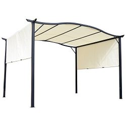 Outsunny 10′ x 12′ Steel Fabric Retractable Pergola Canopy Shade Kit – Cream White