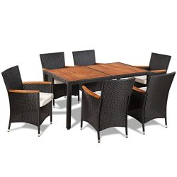 vidaXL Patio Rattan Wicker Garden Dining Set Outdoor Furniture Table Chair Black