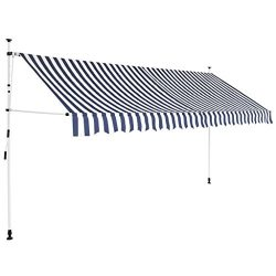 Festnight Outdoor Patio Manual Retractable Awning Sunshade Blue and White Stripes 157.5″