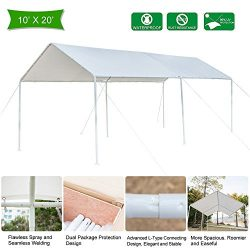 VINGLI 10'x20′ Heavy Duty Domain Carport Car Canopy, Upgraded Steady Metal Steel 6 L ...