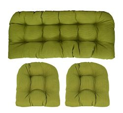 RSH Décor Indoor/Outdoor Wicker cushions Two U-Shape and Loveseat 3 Piece Set Palm Green
