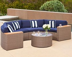Solaura Outdoor 5-Piece Half-Moon Crescent Sectional Furniture Set All Weather Grey Wicker with  ...
