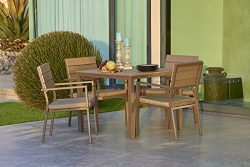 Suncrown Outdoor Steel & Polywood Square Dining Set (5-Piece Set) All Weather Steel Powder C ...
