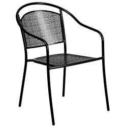Flash Furniture Black Indoor-Outdoor Steel Patio Arm Chair with Round Back