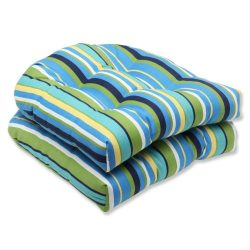 Pillow Perfect Outdoor Topanga Stripe Lagoon Wicker Seat Cushion, Set of 2