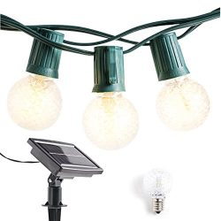 Solar Powered Outdoor String Lights Patio Lights – 40ft G40 LED String Lights Globe Lights ...