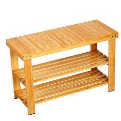 Famistar Shoe Bench With 100% Natural Bamboo,2-Tier Seat Storage Racks Holder Shelf Organizer En ...