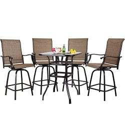 S&Cortile 5 PC Patio Bar Set Textilene Height Bistro Sets Outdoor Garden Furniture with 4 Sw ...