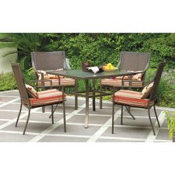Mainstays* 5-Piece Patio Dining Set, Seats 4 in Red Stripe with Butterflies