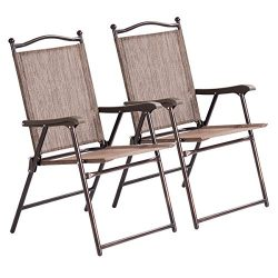 Giantex Set of 2 Folding Sling Back Chairs Indoor Outdoor Camping Chairs Garden Patio Pool Beach ...