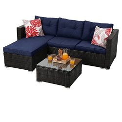 PHI VILLA 3-Piece Rattan Sectional Sofa- Patio Wicker Furniture Set, blue