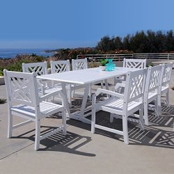 Vifah V232SET40 9 Piece Malibu Outdoor Wood Patio Dining Set