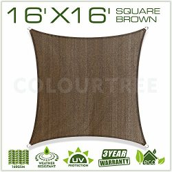 ColourTree 2nd Gen 16′ x 16′ Brown Sun Shade Sail Square Canopy Awning Fabric Cloth  ...