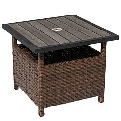 Sundale Outdoor Patio Umbrella Stand All Weather Wicker Rattan Umbrella Table Garden Furniture D ...