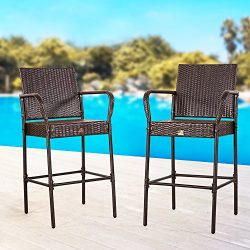 Cloud Mountain Set of 2 Outdoor Wicker Rattan Bar Stool Outdoor Patio Furniture Bar Stools Chair ...