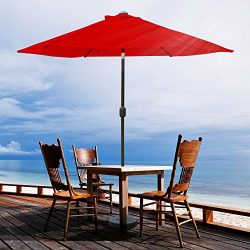 VINGLI 9-Feet Outdoor Patio Umbrella Aluminum Backyard Market Table Umbrella (Red 6 Ribs)