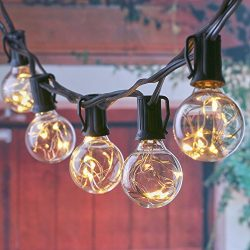 25FT LED Outdoor Patio String Lights with 25 Clear Globe G40 Bulbs, UL Certified for Patio Porch ...