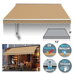 BenefitUSA 12′ x 8′ Manual Retractable Patio Deck Awning Cover, Canopy Sunshade (Beige)