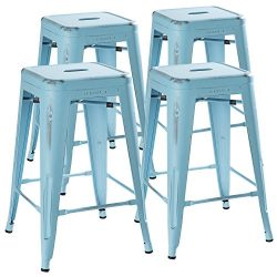 24 Inch Stool Set of 4 by Urban Mod – Distressed Pale Blue Rustic Barstools with 330lb Capacity  ...