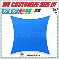 ColourTree 12′ x 12′ Sun Shade Sail Square Blue Canopy Awning Shelter Fabric Cloth S ...