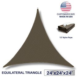 Windscreen4less 24′ x 24′ x 24′ Sun Shade Sail Canopy in Brown with Commercial ...