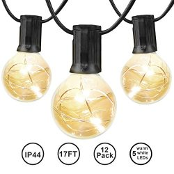 MIXC 17ft G40 LED Globe String Light Bulbs with 12 Clear Bulb, Indoor/Outdoor Warm White Hanging ...