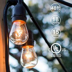 ADDLON 48ft Outdoor String Lights Commercial Great Weatherproof Strand 18 Edison Vintage Bulbs 1 ...