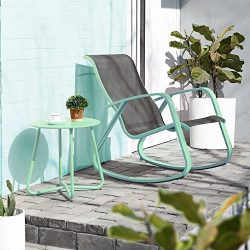 Grand patio Moder Rocking Chair and Coffee Table,Set-2,Macaron Blue Steel Frame,for Inside Room/ ...