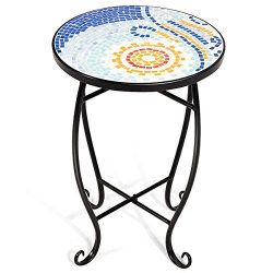 Giantex Mosaic Round Side Accent Table Patio Plant Stand Porch Beach Theme Balcony Back Deck Poo ...