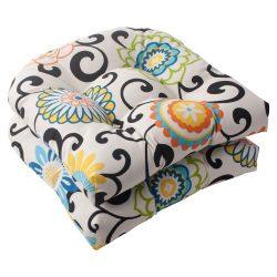 Indoor/Outdoor Pom Pom Play Wicker Seat Cushion, Lagoon, Set of 2