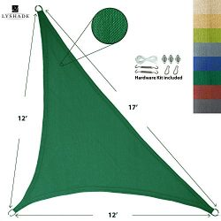 LyShade 12′ x 12′ x 17′ Right Triangle Sun Shade Sail Canopy with Stainless St ...