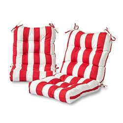 Greendale Home Fashions Outdoor Seat/Back Chair Cushion (set of 2), Cabana Red