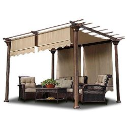 2pcs 15.5×4 Ft Pergola Shade Canopy Replacement Waterproof Polyester Cover Tan w/ Structure ...