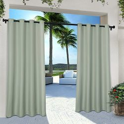Exclusive Home Indoor/Outdoor Solid Cabana Window Curtain Panel Pair with Grommet Top 54×96 ...