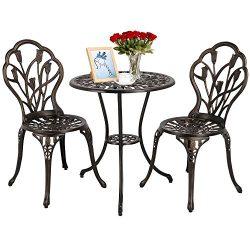 Yaheetech 3 PCS Patio Set Tulip Design Setting Cast Bistro Table Chair Outdoor Patio Furniture,  ...