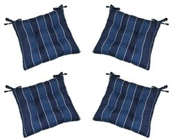 Set of 4 – Indoor / Outdoor Denim Blue Ivory Stripe Fabric Universal Tufted Seat Cushions  ...