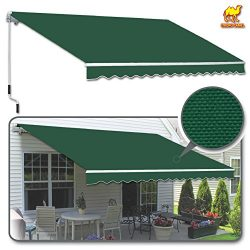 Strong Camel 12′ x 8′ Manual Yard Retractable Patio Deck Awning Cover, Canopy Sunsha ...