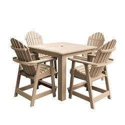 Highwood AD-CNA44-TAU Hamilton 5-Piece Square Counter Height Dining Set, Tuscan Taupe