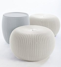 Keter 234242 Urban Knit Pouf Set with Storage Table, Cloudy Grey/Oasis White