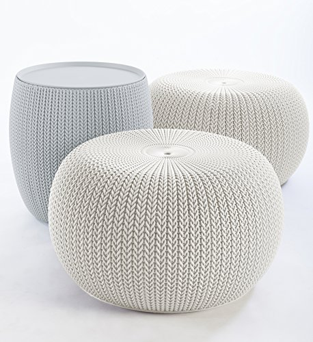 Keter 234242 Urban Knit Pouf Set With Storage Table