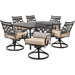 Hanover MCLRDN7PCSQSW6-TAN Montclair 7-Piece Set in Country Cork with 6 Swivel Rockers and a 40& ...