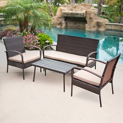 Belleze 4-PC Outdoor Patio Furniture Wicker Set Seat Cushion Coffee Table UV Resistant Backyard, ...