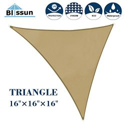 Blissun 16′ x 16′ x 16′ Sun Shade Sail  Triangle Canopy, UV Block for Outdoor  ...